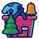 basket, bell, christmas, shopping, tree icon