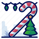 candy, cane, christmas, lights, tree icon