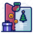 card, christmas, present, stocking, tree icon