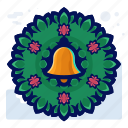 bell, christmas, decoration, door, wreath icon