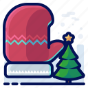 christmas, clothing, cold, glove, tree, winter icon