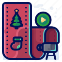 christmas, entertainment, movie, movies, video icon