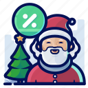 christmas, percentage, sale, santa, tree icon