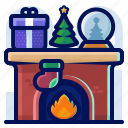 christmas, fireplace, globe, present, tree icon