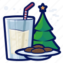 beverage, christmas, cookie, drink, milk, tree icon