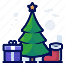 christmas, decoration, presents, sock, stocking, tree icon
