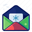 card, envelope, letter, message, winter icon