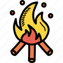 bonfire, camping, fire, heat, hot, warm, wood icon