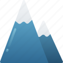 december, holidays, mountains, snowing, winter icon