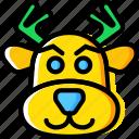 christmas, reindeer, winter icon