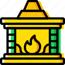christmas, fire, fireplace, winter icon