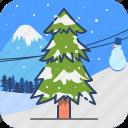 cypress, pine, tree, winter icon