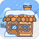 cold, house, winter, wood, wooden icon