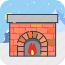 cosiness, fire, fireplace, warm, winter icon