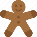 christmas, gingerbread, man, winter icon