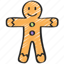christmas, december, gingerbread, holidays, man, winter icon
