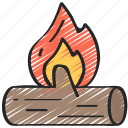 december, fire, fireplace, holidays, log, winter icon