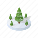 isometric, winter, tree, holidays, forest, christmas, landscape