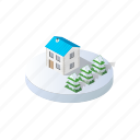 christmas, forest, holidays, home, isometric, landscape, winter icon