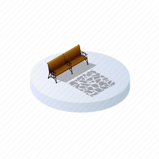 bench, christmas, forest, holidays, isometric, landscape, winter icon