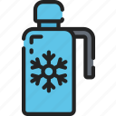 december, flask, holidays, hot drink, thermos, winter icon