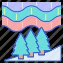light, mountain, northern, snow icon