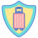 insurance, shield, suitcase, travel icon