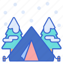 camping, outdoor, snow, winter icon