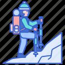 hiking, mountain, snow, winter icon