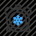 alarm, clock, seasons, snow, timer, weker, winter icon