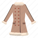 cartoon, cloth, fashion, fur, jacket, sheepskin, women icon