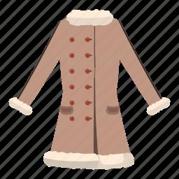 cartoon, cloth, fashion, fur, jacket, sheepskin, women icon
