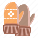 cartoon, glove, holiday, mitten, snow, winter, wool icon