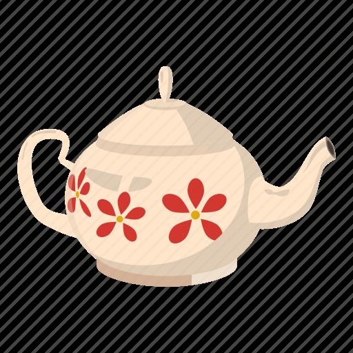 cartoon, flower, pot, tea, teapot, utensil, winnter icon