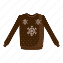 cartoon, clothe, pattern, pullover, snowflake, sweater, wool icon