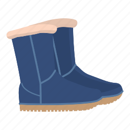 boot, cartoon, fur, leather, pair, shoe, winter icon