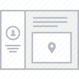 contact, info, location, style, ui, web, wireframe icon