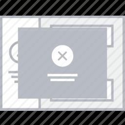 delete, popup, style, ui, web, wireframe icon