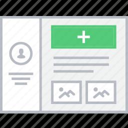 add, media, style, ui, web, wireframe icon