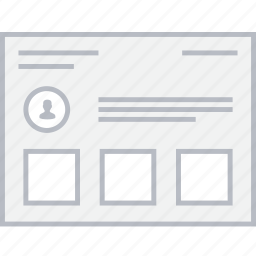 card, style, ui, user, web, wireframe icon
