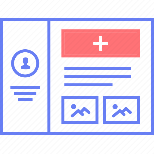 add, media, style, ui, web, wireframe icon