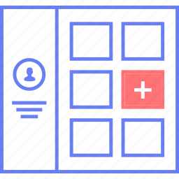 add, option, style, ui, user, web, wireframe icon