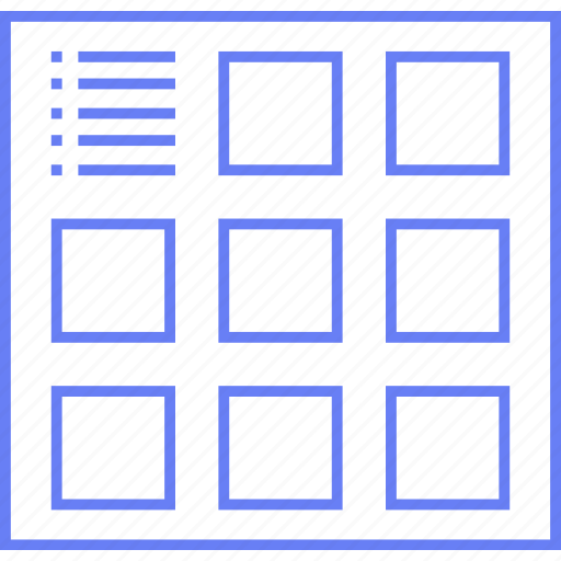 grid, info, preview, thumb, ui, web, wireframe icon