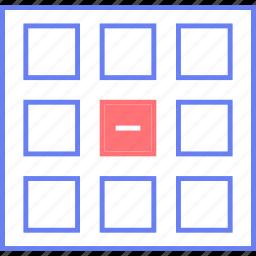 delete, grid, style, thumb, ui, web, wireframe icon