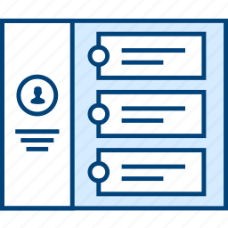 contact, history, profile, style, ui, web, wireframe icon