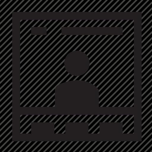 person, portfolio, profile, screen, user, window, wireframe icon