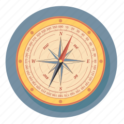 arrow, compass, direction, navigation, rose icon