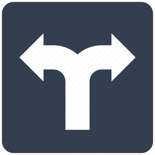 arrows, direction, gps, navigation, road, sign, two icon