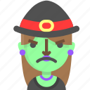 angry, emoji, female, halloween, horror, monster, witch icon
