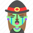 crying, emoji, female, halloween, horror, monster, witch icon